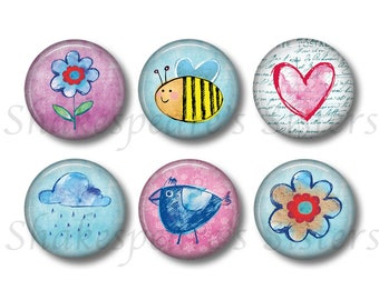 Colorful Springtime Magnets - Set of Six Round 1.5 Inch Magnets - Bees, Flowers, Bird, Rain - Cute Kitchen Decor
