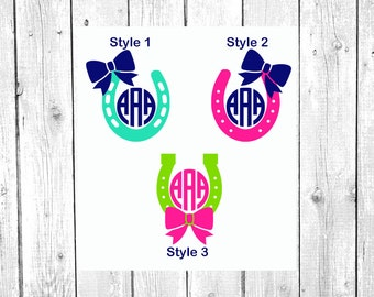 Horse Shoe Decal, Horse Shoe Monogram, Vinyl Decal, Yeti Decal, Car Decal, Gifts for her, Phone Decal, Laptop Decal, Yeti Cup