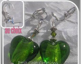 "CLIPS / CHOICE CRYSTAL ""HEART OF HOPE"" APPLE GREEN GLASS EARRINGS"