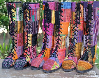Boho Womens Boots In Colorful Vintage Ethnic Hmong Patchwork Embroidery Vegan - Sadie FREE Shipping Worldwide