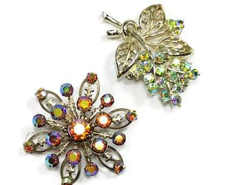 2 AURORA BOREALIS RHINESTONE Brooches Vintage Rhinestone Pins Colorful  & Sparkly