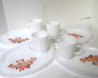 Milk Glass Luncheon Set Serving for 4