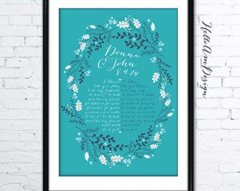 1st anniversary gift, wedding vows, Custom Wedding Vows, wedding song, Wedding gift, Anniversary gift, Custom colors