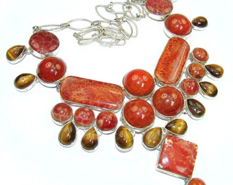 Mexican Fire Agate, Tigers Eye Sterling Silver Necklace - weight 136.80g - dim 3 5 8 inch - code 16-lut-16-30