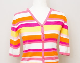 Vintage Lilly Pulitzer 3/4 Sleeve Cotton Blend striped cardigan sweater
