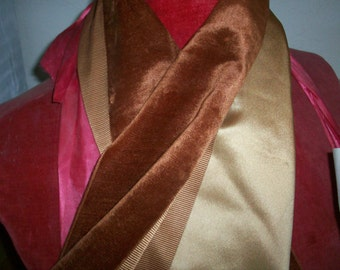 Antique french silk velvet, faille, and satin, in warm browns, rusts, and caramels
