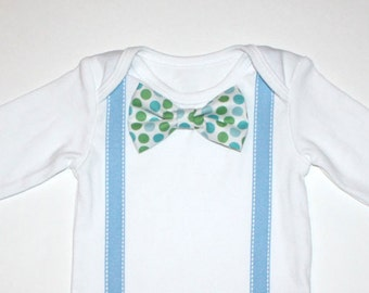 Baby Boy Blue and White Bow Tie Onesie Free Shipping