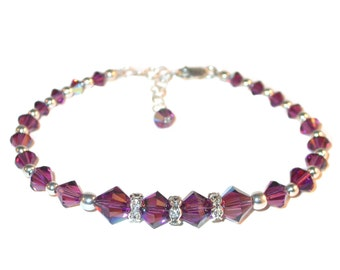 Purple AMETHYST Crystal Bracelet Beaded Swarovski Elements Sterling Silver Handcrafted