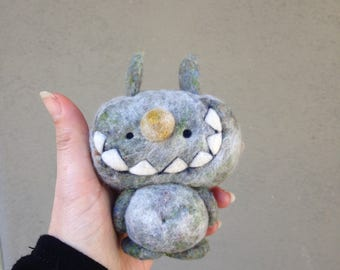 OOAK Needle felted Bunny Monster Toy Shelf Sitter Ready to Ship