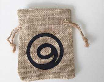 Gratitude sacred Tibetan symbol mini jute favour keepsake crystal jewellery bag. spiritual symbol. crystal healing lucky charm bag. thankful