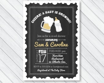 Baby is Brewing Invitation, Co-ed Baby Shower Invitation, Couples Baby Shower Invite, Chalkboard Beer & Baby Bottle, PRINTABLE