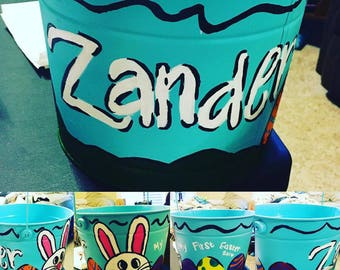 Hand Painted Easter Bucket