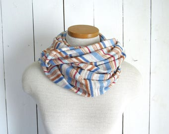 Terry Cloth Infinity Scarf 70s Striped Beachy Circle Scarf Eco Friendly Wide Wrap Cotton Scarf Blue White Orange