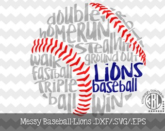 Messy Lions Baseball design INSTANT DOWNLOAD in dxf/svg/eps for use with programs such as Silhouette Studio and Cricut Design Space