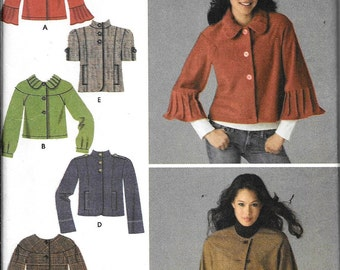 Simplicity 3627 Misses Cropped jackets Retro Swing Unlined Sewing Pattern UNCUT Size 6-8-10-12-14