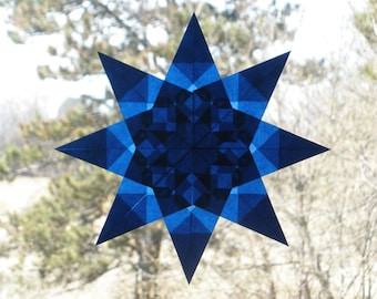 8-Pointed Blue Waldorf Inspired Window Star Suncatcher
