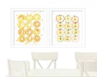 Watercolor Print set of 2 - Watercolor Fruit prints - Watercolor Kitchen Wall Art - Kitchen Prints - Wall Art Prints - Kitchen Art - Prints