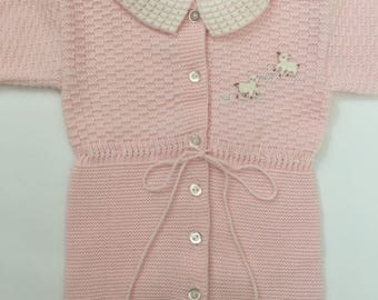 SALE Pink Knit Romper/Footed Romper/Onesie Size 0-3 Months
