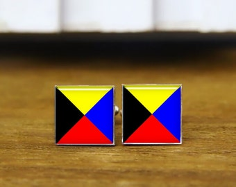 custom marine signal flag,  a-z cufflink, marine flag cufflinks, maritime signal Flags cufflinks, Nautical Flags, square cufflink & tie clip