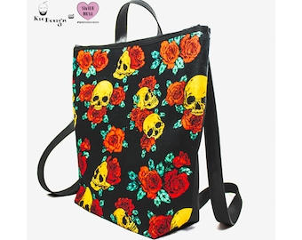 Backpack-Golden Skulls & Roses