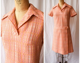 Vintage 1960's Dress The Sherbet Day Dress Norman Wiatt Knits Orange and Pink Plaid Dress Fake Wrap Front Wide Collar Short Sleeves Sz S/M