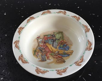 Bunnykins porridge or cereal bowl for children, bone china Royal Doulton made in England. Dress up time for the bunnies.