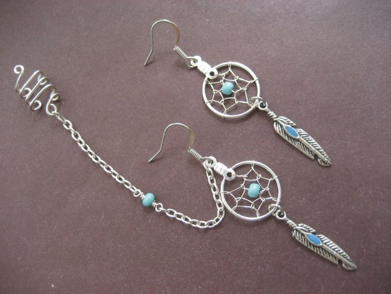 Dream Catcher Ear Cuff Turquoise Dream Catcher Asymmetrical Cartilage Helix Chain and 5