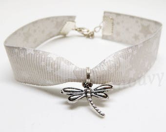 Bracelet adjustable gray Ribbon with its dragonfly
