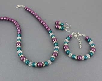 Teal and Purple Jewelry Set Necklace Bracelet Earrings Teal and Purple Necklace Bridesmaids Gifts Purple and Teal Wedding Jewelry