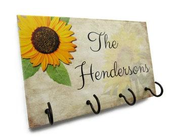 Custom Name Key Holder, Sunflower Wall Decor, New Home Gift Sunflower Key Rack, Personalized Gift, Wall Key Hook, Key Hanger Hooks  (28)