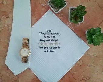 Father of the Bride, Wedding Handkerchief;groom gift;wedding hankerchief; father of the groom, gift;personalised handkerchief; mens hanky;