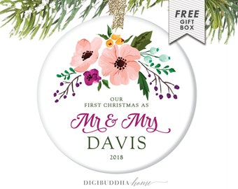 First Married Christmas Ornament for Newlywed First Christmas, Newlywed Gift Rustic Wedding Gifts for Couple, Custom Christmas Ornament