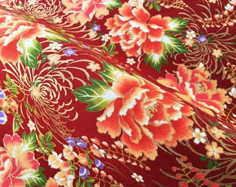 Japanese flower cotton fat quarter, japanese fabric by yard, golden red quilt, tenugui japanese floral cotton fabric, kimono yukata fabric