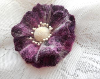 Felt brooch, Purple white pink felt brooch flower,Wet Felt flower poppy brooch,purple brooch,accessories,wool felt jewelry,hair pins flowers