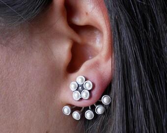 Jacket Earrings, Pearl Earrings, Pearl Jacket Earrings, Silver Stud Earrings, Silver Earrings with Pearl, Front Back Earrings, Flower Pearl