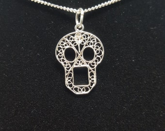 Skull - Silver Filigree Pendant