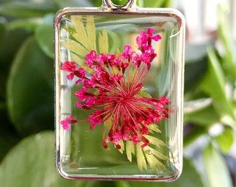 OOAK Fuchsia Queen Anne's Lace Botanical Resin Pendant