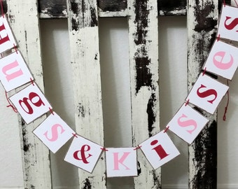 Valentine Banner Garland Hugs & Kisses Shabby Chic Red And Pink Banner Wedding Banner Romantic Banner Wedding Photo Prop Garland