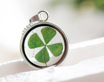 ON SALE!!  Wish Luck Necklace Real Four Leaf Clover, Jewelry Woman Lucky Charm, shamrock Necklace Blown Pendant, Birthday Gift, Mother's Day