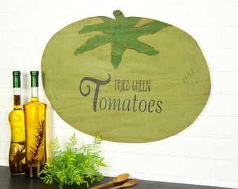 Rustic Kitchen Decor Fried Green Tomatoes Rustic Wood Sign Rustic Home Decor Green Kitchen Decor Southern Kitchen Decor Kitchen Wall Art