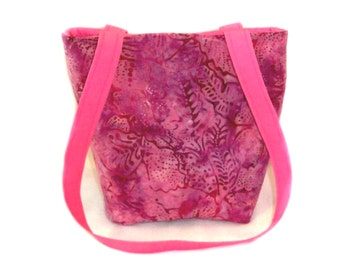 Batik Purse, Small Tote Bag, Pink Cloth Purse, Handmade Handbag, Fabric Bag, Teen Purse, Shoulder Bag, Girls Purse