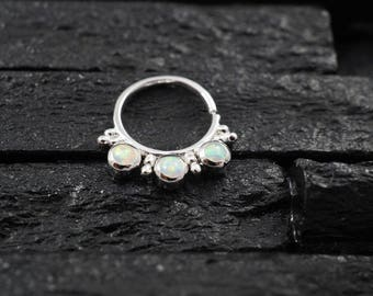 Triple White opal with cluster trinity ball hoop Daith earring / Cartilage / Septum ring / Nose ring