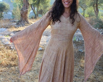 Gypsy Goddess Wide sleeves khadi cotton Dress~