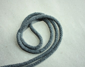 5 mm Dark Gray Cotton Rope = 5 Yards = 4.57 Meters of Elegant Cotton Braided Cord - Bulky Yarn - Super Bulky Yarn - Macrame Cotton Cord