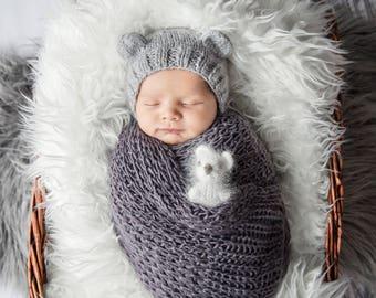 minis peluche tricoté à la main, idéal pour les photos de nouveaux-nés