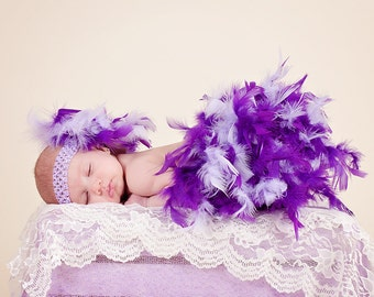 Baby Girl photo Outfit - Feather Bloomers - Baby OTT Headpiece - Purple Bloomers - New baby outfit- New baby Photo Prop - Gift for Baby