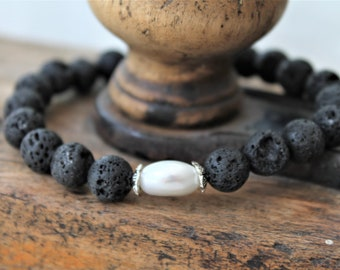 ABUNDANCE BRACELET, diffuser aromatherapy bracelet with lava rock and a natural real pearl, charm bracelet, diffuser jewelry, pearl jewelry