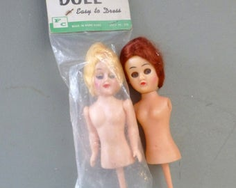 Two Vintage Doll On Stick 7 1/2 Inch Half Blonde Doll,  Moving Eyes, One Red Hair 6 Inches