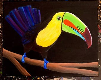 Original Keel-billed Toucan Acrylic Painting - From the Endangered Species Series