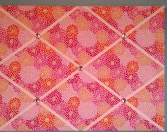 Flower french memo board, pinks and oranges, 18 x 24, large